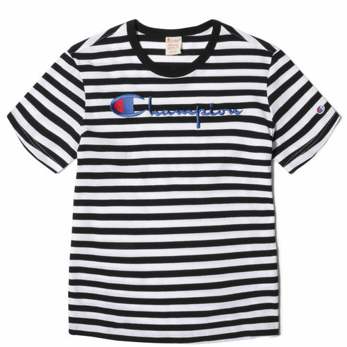 Champion Europe CREWNECK T-SHIRT Black/White
