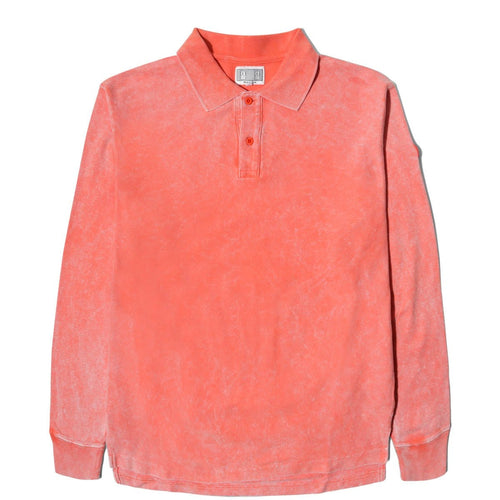 Cav Empt BLEACHED RIB LONG SLEEVE POLO SHIRT Orange