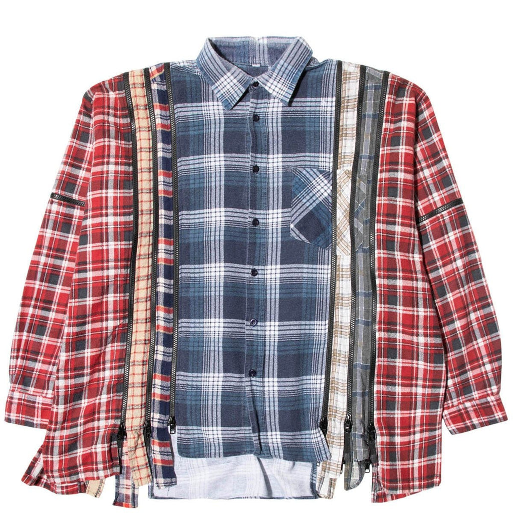 Needles Shirts ASSORTED / O/S 7 CUTS ZIPPED WIDE FLANNEL SHIRT SS21 19