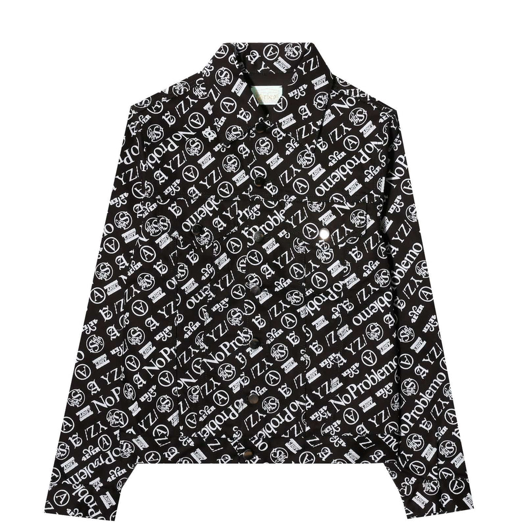 Aries TRUCKER JACKET PRINT Black/White