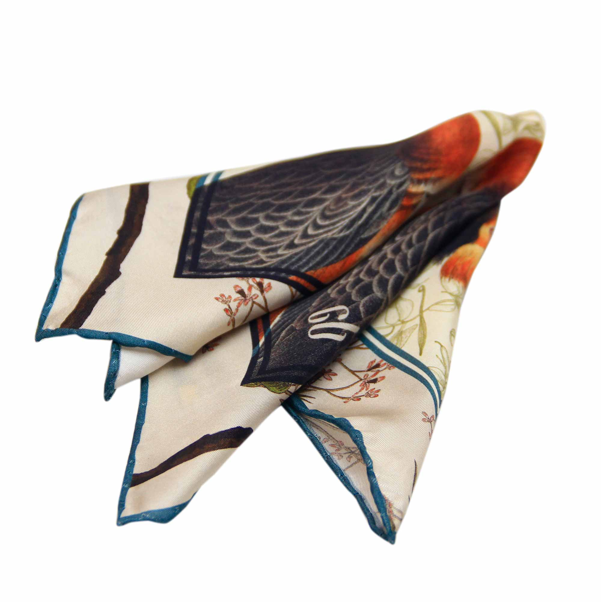 Crested Grebe Silk Pocket Square