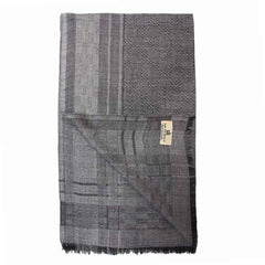 Black and Grey Prism Weave Super Fine Merino Wool Scarf