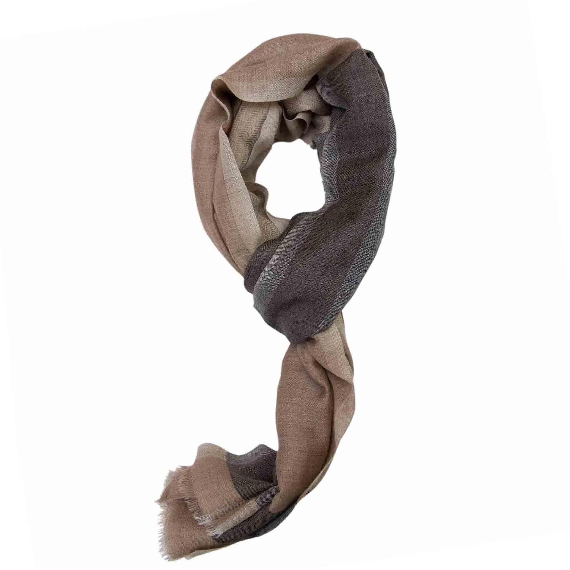 Grey and Beige Alternating Patterns Super Fine Merino Wool Scarf