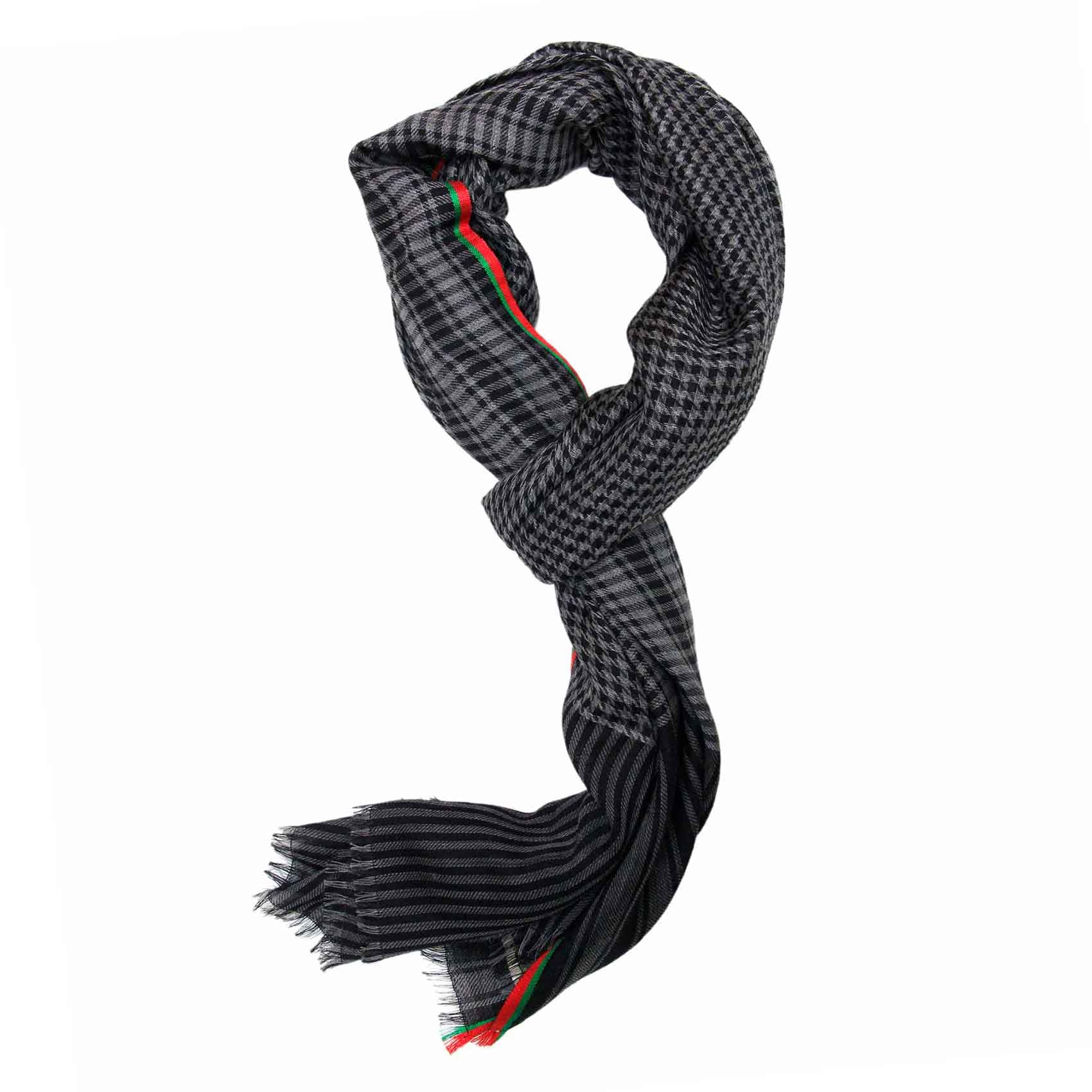 Black and Grey Houndstooth Super Fine Merino Wool Scarf