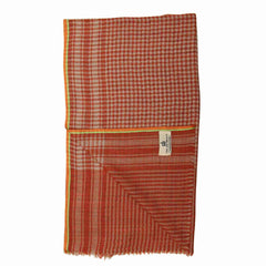 Rust and White Houndstooth Super Fine Merino Wool Scarf