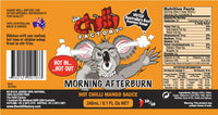 Nutritional Label for The Chilli Factory Morning Afterburn Hot Chilli Mango Sauce. Australian Hot Sauce sold by Blonde Chilli Australia.