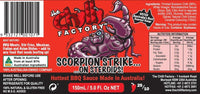 The Chilli Factory Scorpion Strike On Steroids Hottest BBQ Sauce Made In The World. Australian Hot Sauce sold by Blonde Chilli Australia.