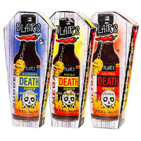 Blair's Ultra Death Sauce, Blair's Mega Death Sauce and Blair's Sudden Death Sauce. Death Row. 3 Blair's super-hot sauces. Available in Australia at BLONDE CHILLI.