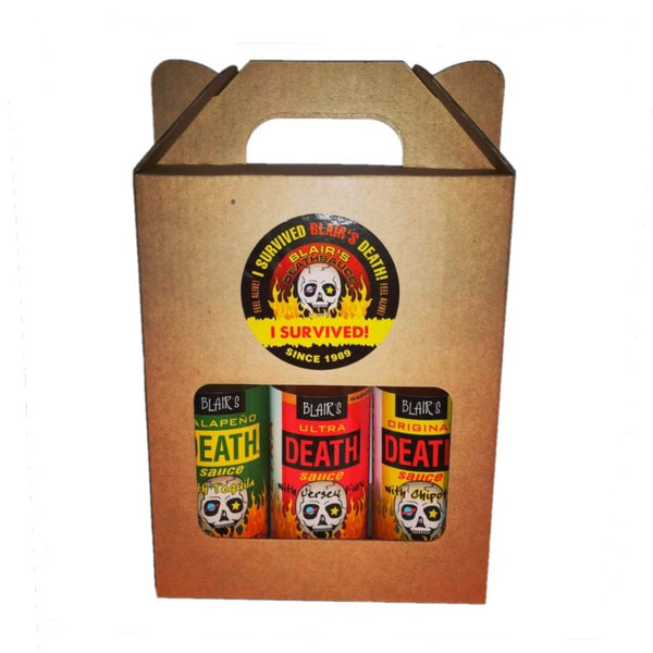 Blair's Death Sauce triple pack including Ultra Death Sauce, Jalapeno Death Sauce and Original Death Sauce for Blonde Chilli, Australia.