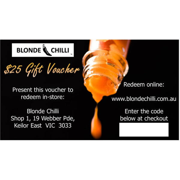 Blonde Chilli $25 Gift Voucher for use in-store and online at Blonde Chilli, Australia.