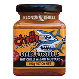 The Chilli Factory Double Trouble Hot Chilli Wasabi Mustard. Australian Hot Sauce sold by Blonde Chilli Australia.