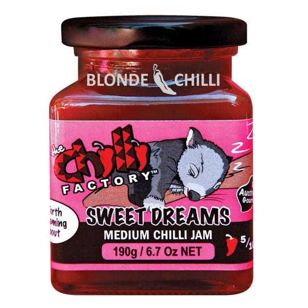 The Chilli Factory Sweet Dreams Medium Chilli Jam. Australian Hot Sauce sold by Blonde Chilli Australia.