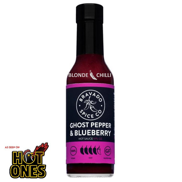 Did you know? Bravado Ghost Pepper and Blueberry Hot Sauce was featured on Season 3 of the hit YouTube web series Hot Ones. Produced by First We Feast, Hot Ones boasts celebrities being interviewed by host Sean Evans over a platter of increasingly spicy chicken wings.