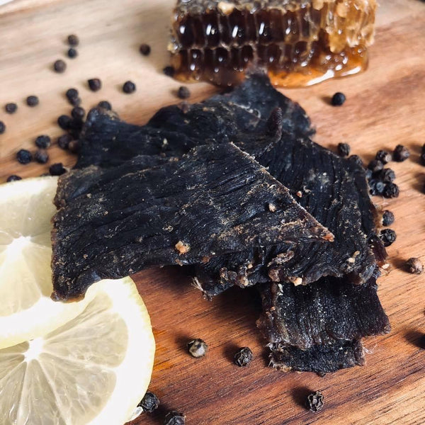 Quirky Jerky Honey Lemon Pepper flavour is distributed by Blonde Chilli, Australia