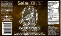 Seafire Gourmet Scorpion Hot Sauce label.