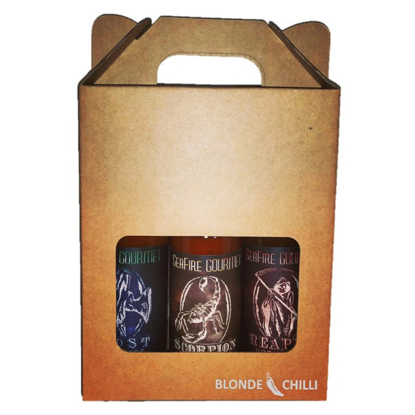 Seafire Gourmet 3 pack of sauces - Ghost, Reaper, and Scorpion. Available exclusively at Blonde Chilli, Australia.