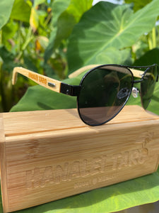Wood Engraved Aviator Unisex Sunglasses + Bamboo Box Case