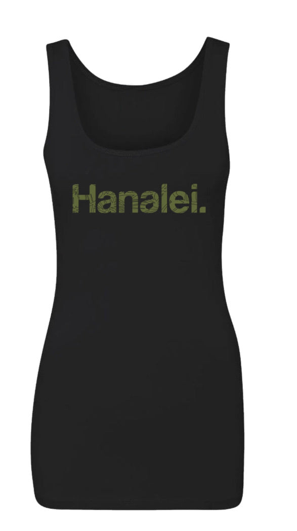 Hanalei Women's Fitted Black Tank Limited Edition Fundraiser Collab Aloha Modern x Hanalei Taro