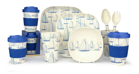 Bamboo tableware with nautical design