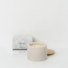 White marble pot candle sicilian lemon fragrance