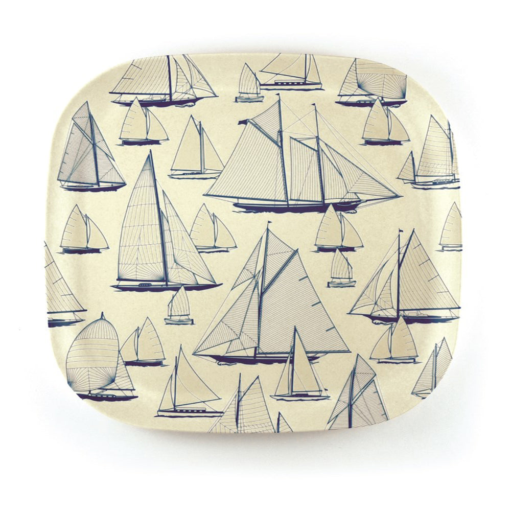 Bamboo square plate 26cm with nautical design