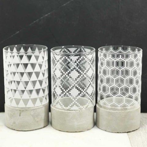 tea light holders concrete and glass
