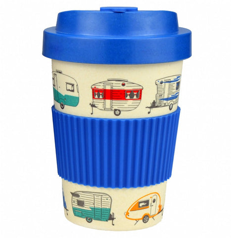 bamboo travel cup caravans design in blue