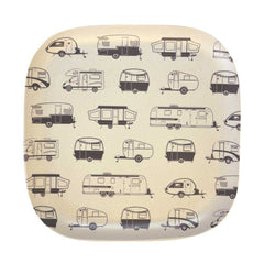 Bamboo palte 22cm square with grey caravans design