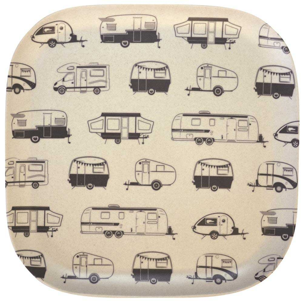 Bamboo plate 26cm square with grey caravans design