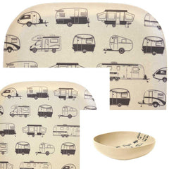 Bambo plates and bowl grey caravans set