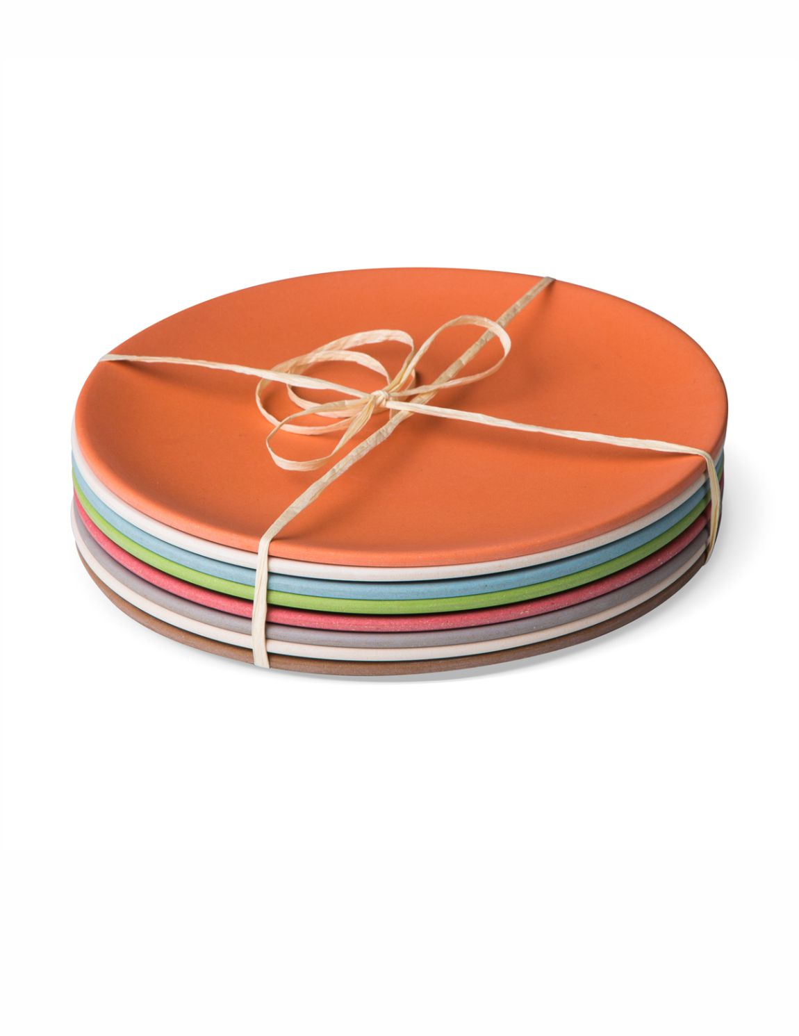 Bamboo dinner plates 26cm - set of 8 mixed colours