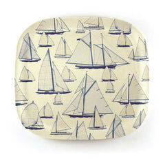 Bamboo square plate 22cm with nautical design