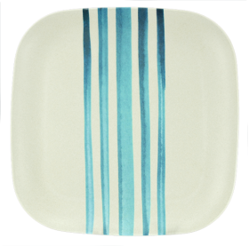 Plate made from bamboo watercolour stripes