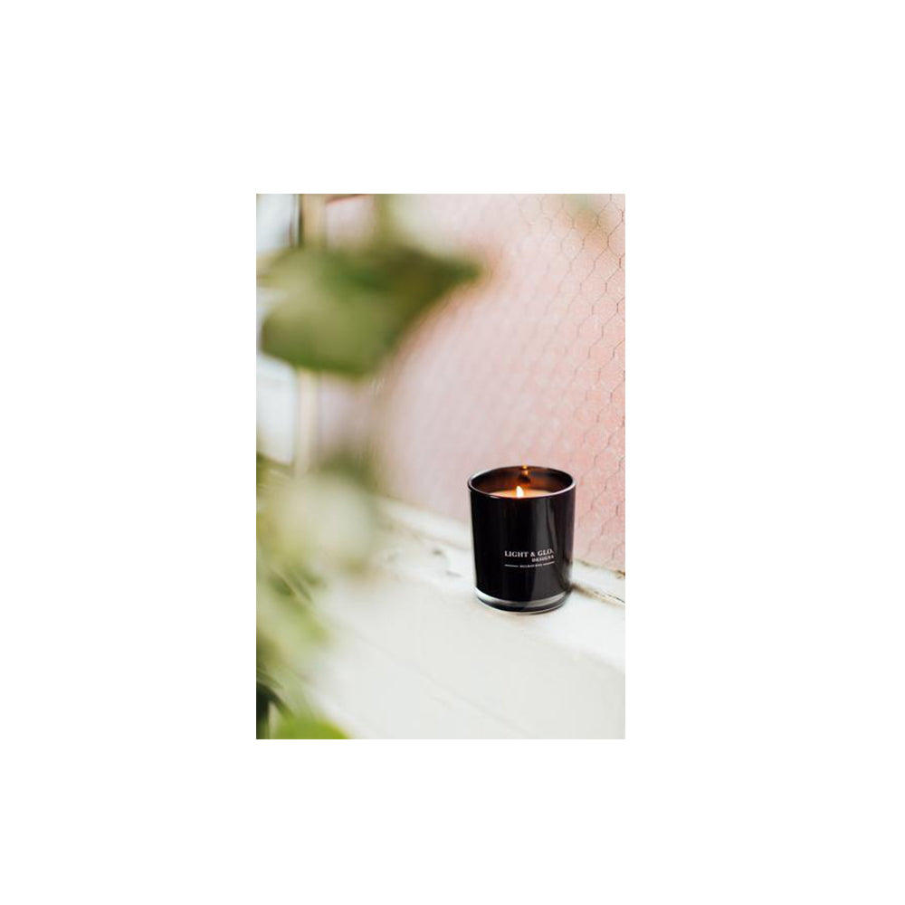 Black glass soy candle