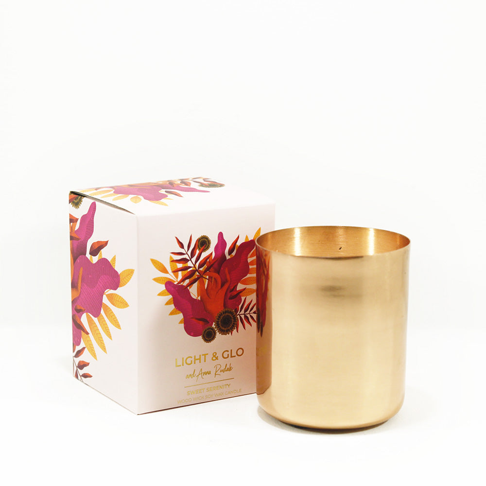 Candle in copper jar with sweet serenity fragrance