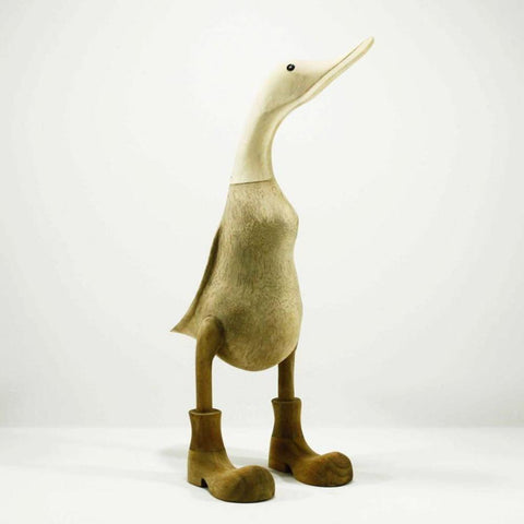 Wooden duck with boots 42cm high