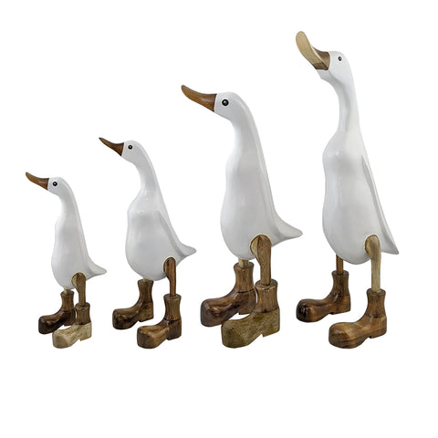 set of 4 bamboo ducks with white lacquer and natural boots