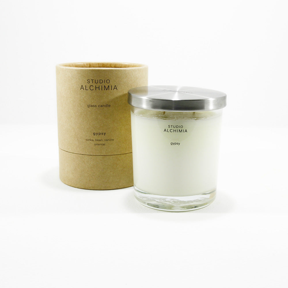 soy candle in glass jar gypsy fragrance