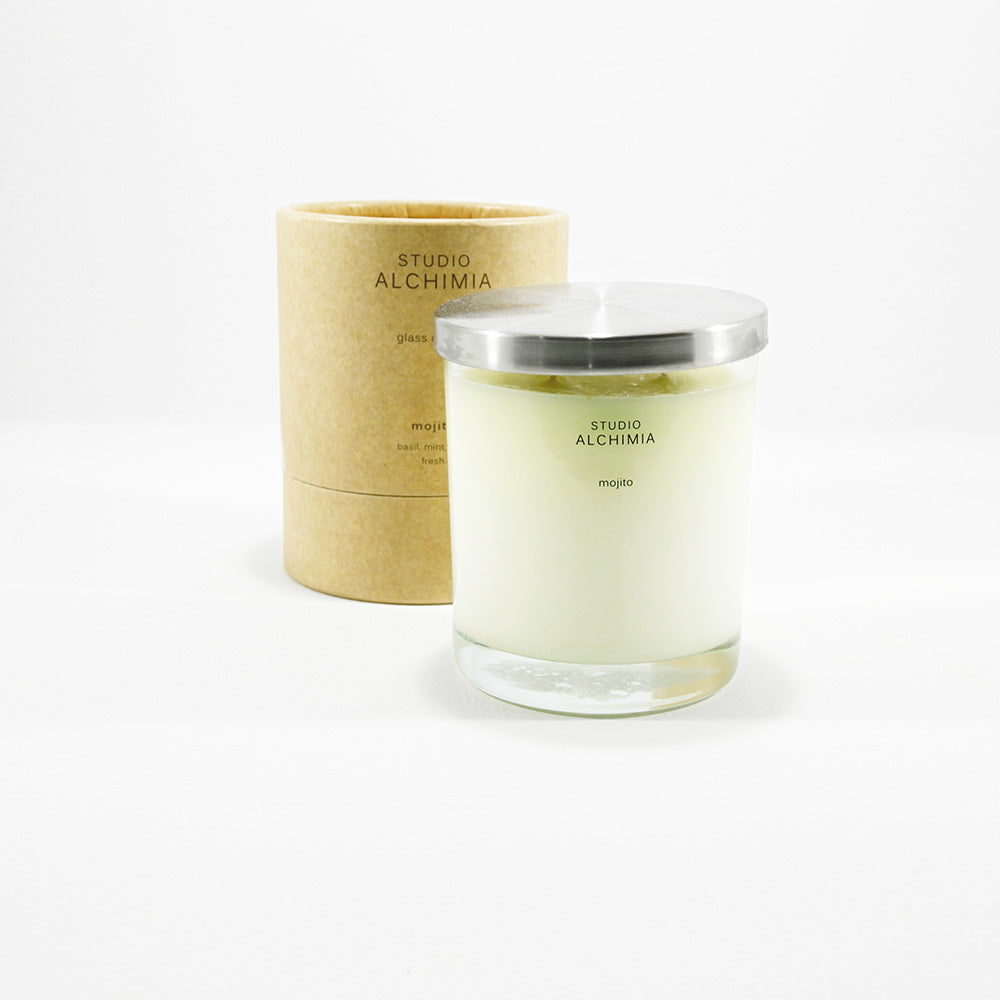 soy candle in glass jar with kraft packaging mojito fragrance