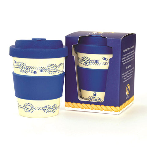 Reusable coffee cup made from sustainable bamboo nautical knots design