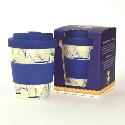 Reusable coffee cup made from sustainable bamboo sailing ships design