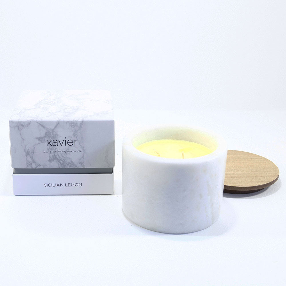 Marble pot luxury candle sicilian lemon
