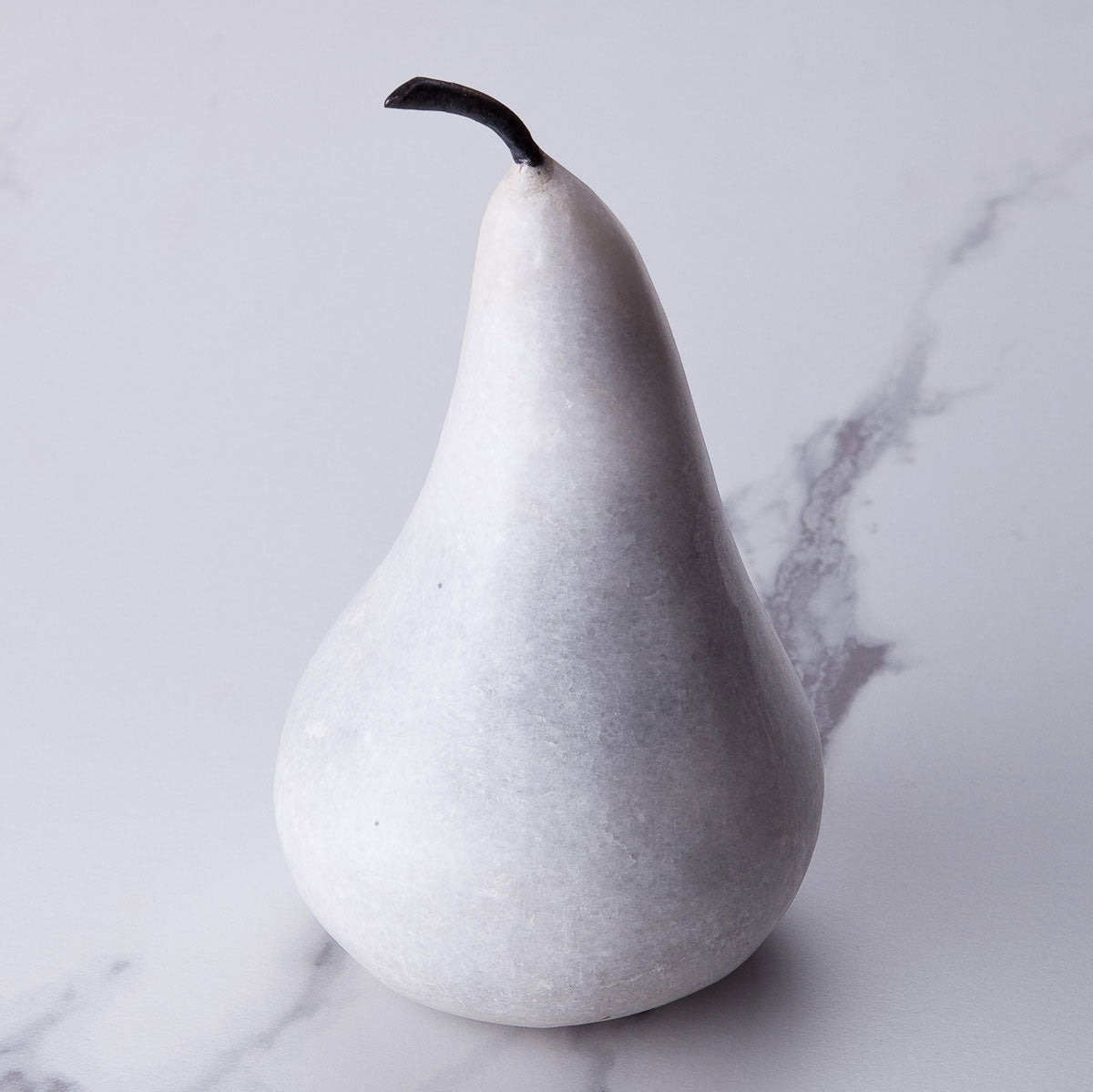 Large white marble pear