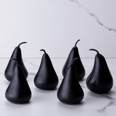 Set of 6 black marble pears