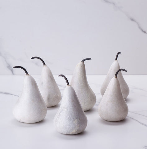 Set of 6 white marble pears
