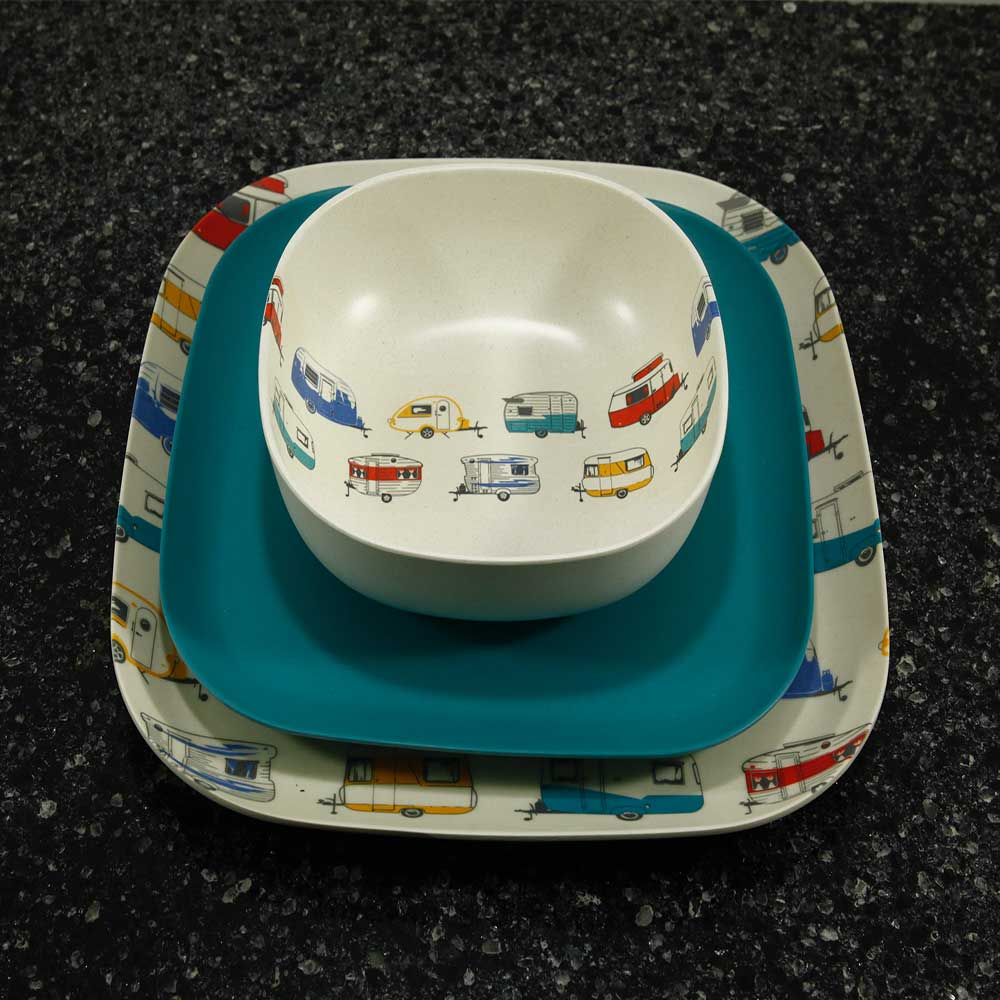bambo tableware set caravan theme