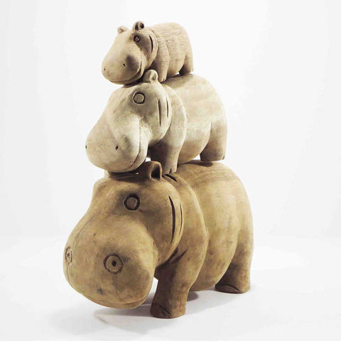 Hippopotamus family carved in bamboo wood