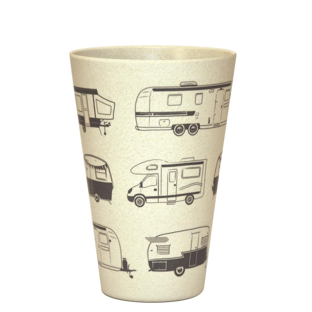 Bamboo tumbler with grey caravans