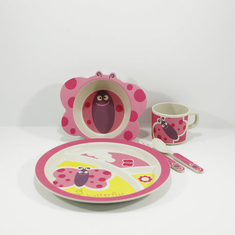 kids bamboo tableware set butterfly design