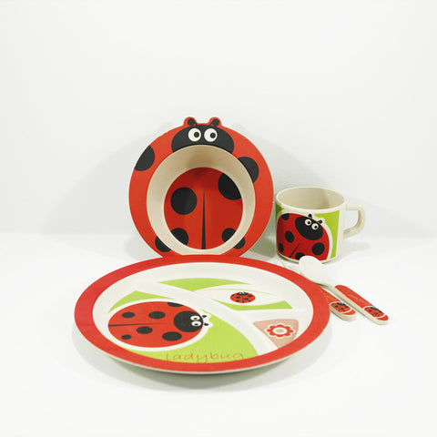 kids bamboo tableware set lady bug design